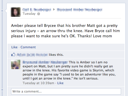Amber please tell Brycee that his brother Matt got a pretty serious injury - an arrow thru the knww. Have Bryce call him please I want to make sure he is OK